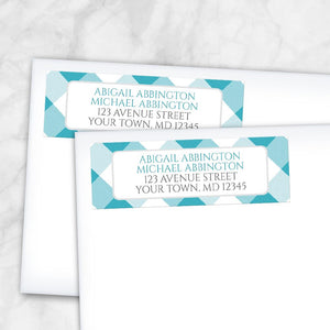 Turquoise Gingham Return Address Labels at Artistically Invited