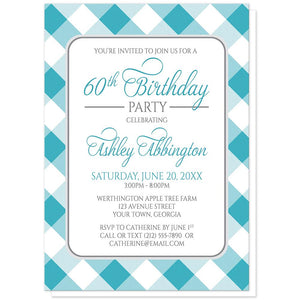 Turquoise Gingham Birthday Party Invitations at Artistically Invited