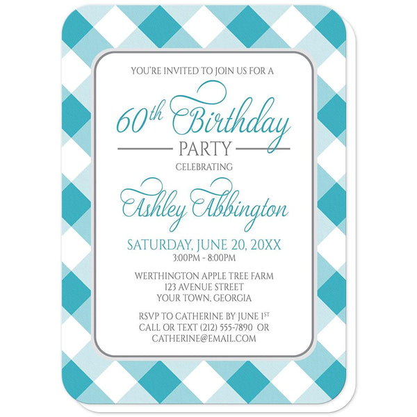 Turquoise Gingham Birthday Party Invitations (rounded corners) at Artistically Invited