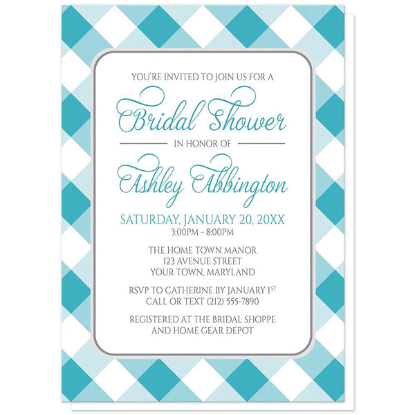 Turquoise Gingham Bridal Shower Invitations at Artistically Invited
