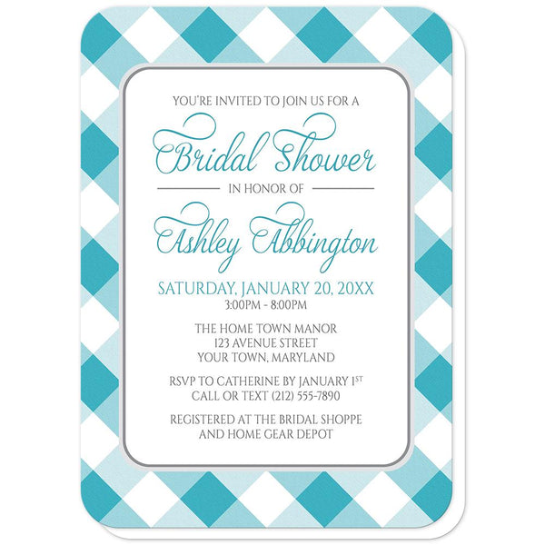 Turquoise Gingham Bridal Shower Invitations (rounded corners) at Artistically Invited
