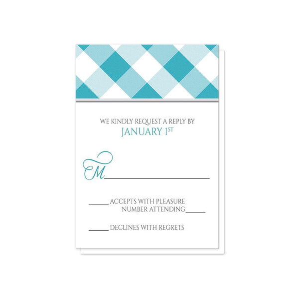 Turquoise Gingham Wedding RSVP Cards at Artistically Invited