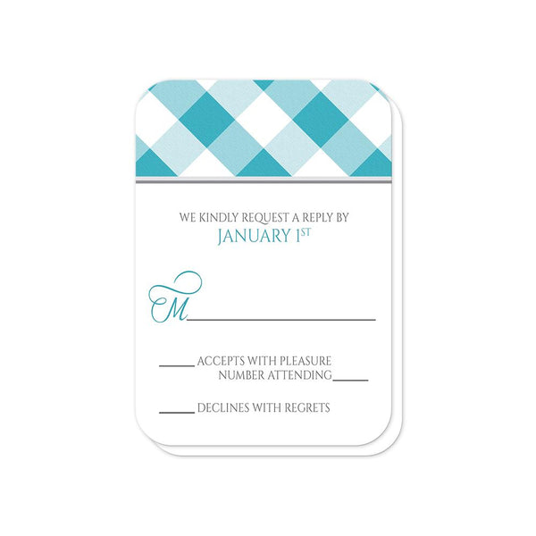Turquoise Gingham Vow Renewal RSVP Cards (rounded corners) at Artistically Invited