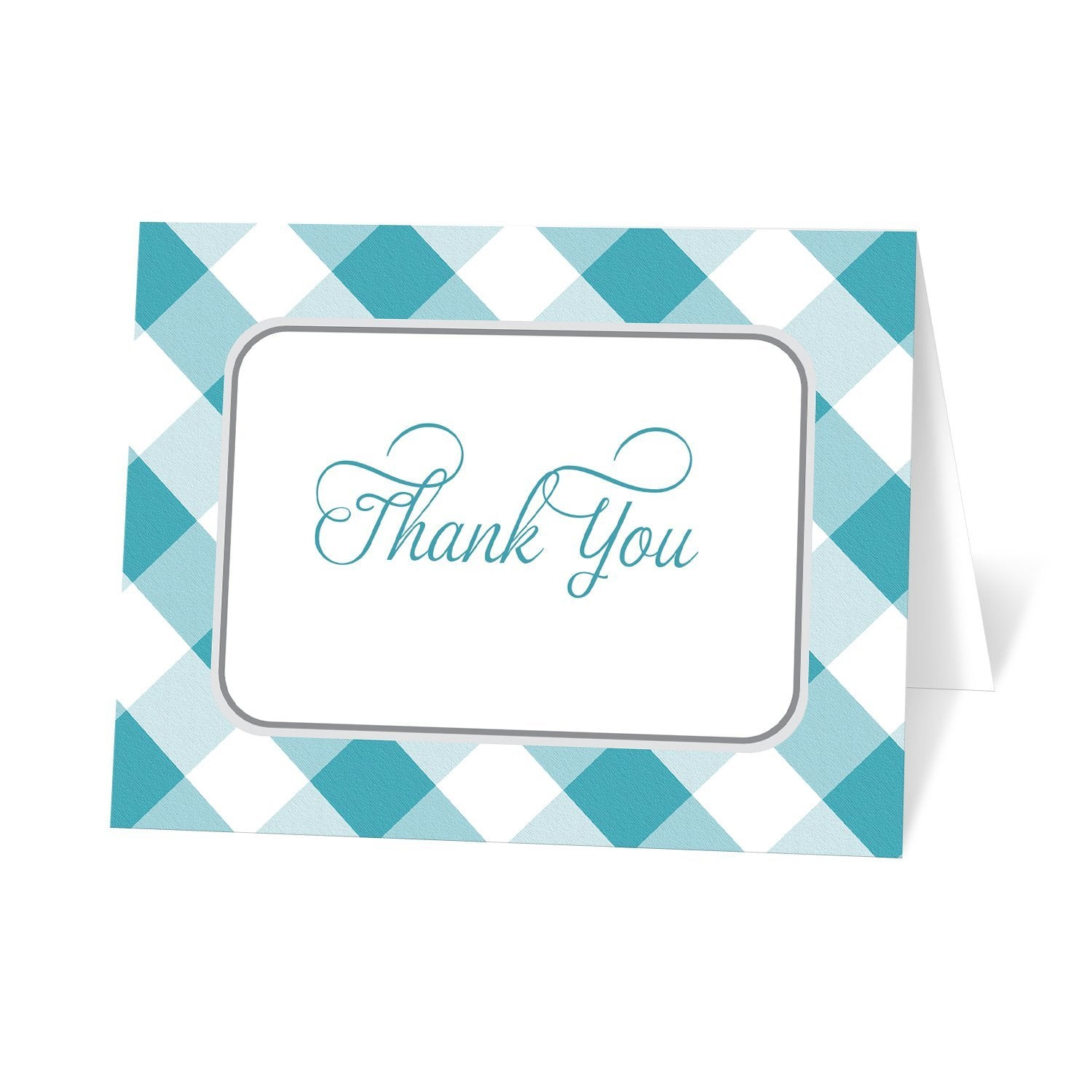 Turquoise Gingham Thank You Cards at Artistically Invited