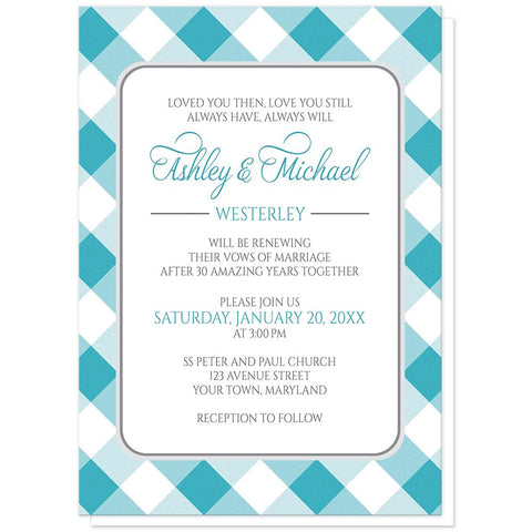 Turquoise Gingham Vow Renewal Invitations at Artistically Invited