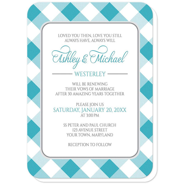 Turquoise Gingham Vow Renewal Invitations (rounded corners) at Artistically Invited