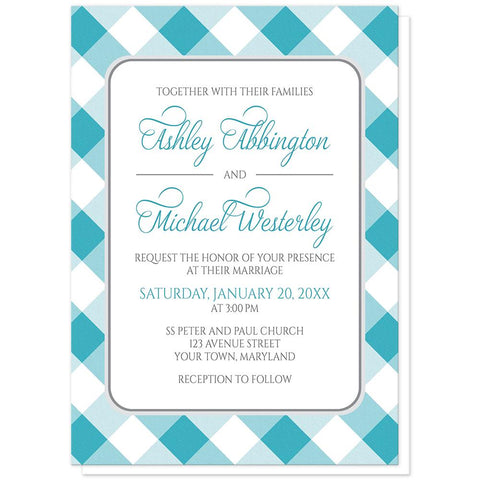 Turquoise Gingham Wedding Invitations at Artistically Invited