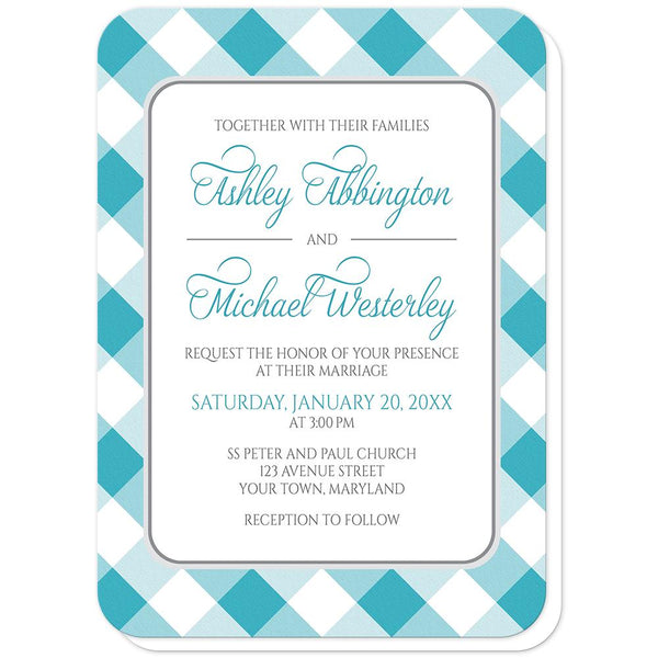 Turquoise Gingham Wedding Invitations (rounded corners) at Artistically Invited