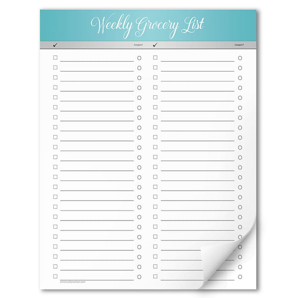 "Turquoise Header Full Page Weekly Grocery List - 8.5"" x 11"" Notepad"