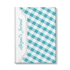 "Turquoise and White Gingham Pattern Personalized 5"" x 7"" Journal"
