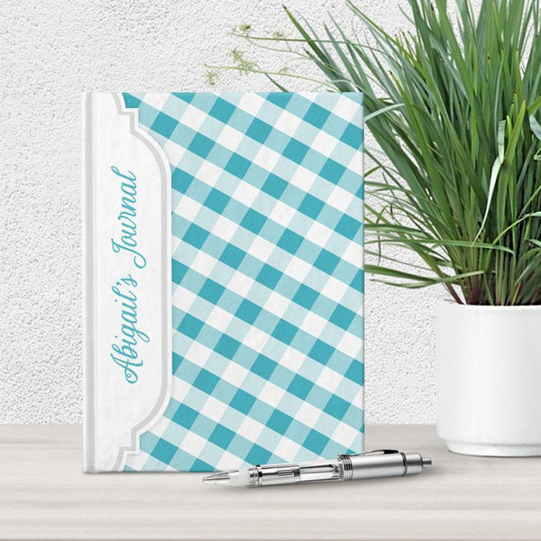 Personalized Turquoise Gingham Journal at Artistically Invited