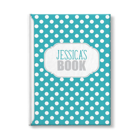 "Turquoise and White Polka Dot Personalized 5"" x 7"" Journal"