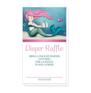 Under the Sea Mermaid Diaper Raffle Cards