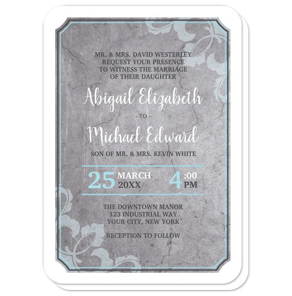 Wedding Invitations - Industrial Aqua Gray Flourish - rounded corners