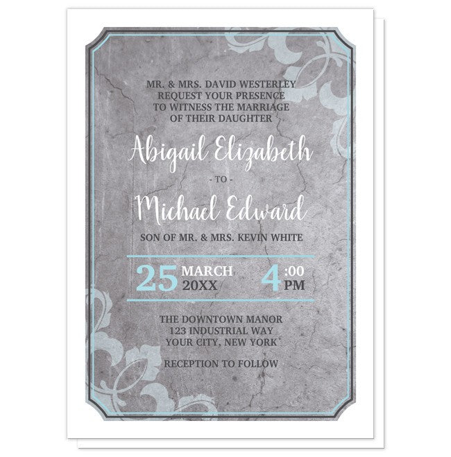 Wedding Invitations - Industrial Aqua Gray Flourish