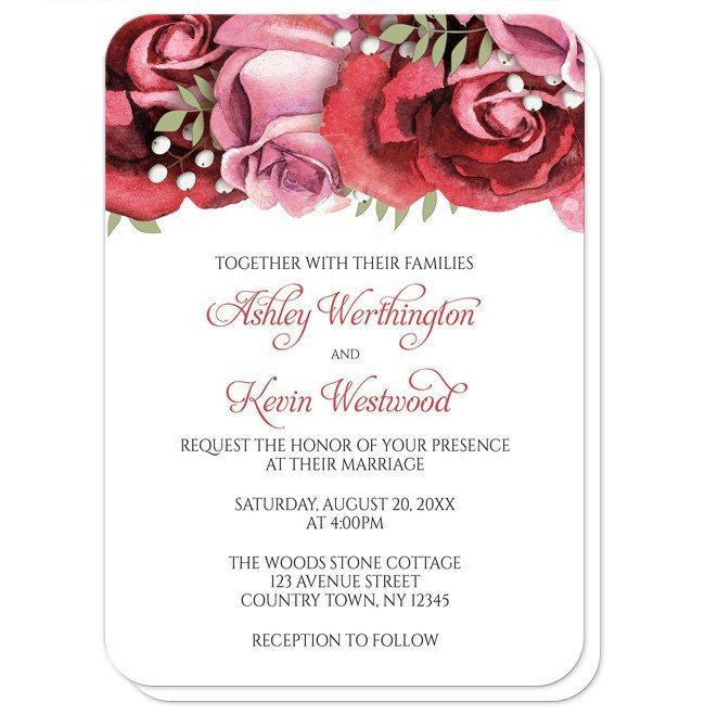 Burgundy Red Pink Rose Wedding Invitations at  Artistically Invited