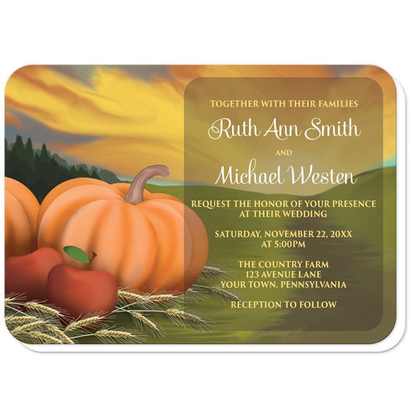 Country Autumn Harvest Wedding Invitations - rounded corners