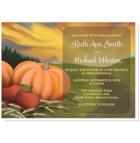 Country Autumn Harvest Wedding Invitations