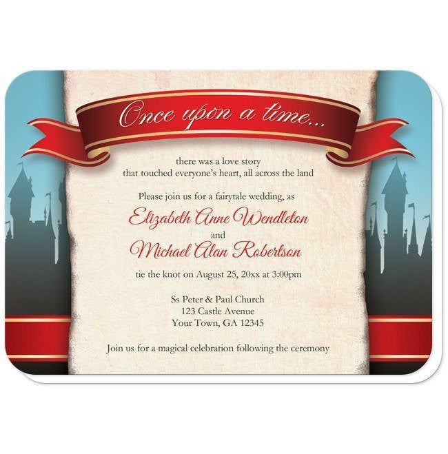 Fairytale Castle Red Once Upon A Time Wedding Invitations