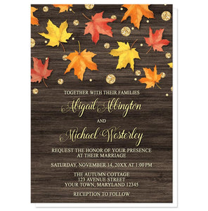 Falling Leaves with Gold Autumn Wedding Invitations - Artistically Invited