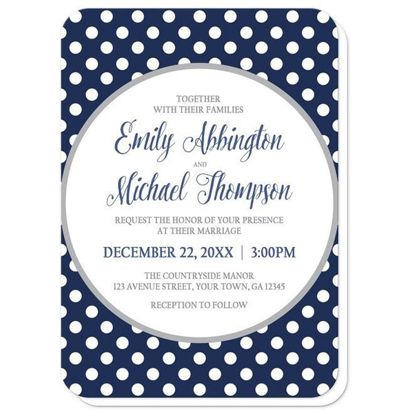 Gray Navy Blue Polka Dot Wedding Invitations - Artistically Invited