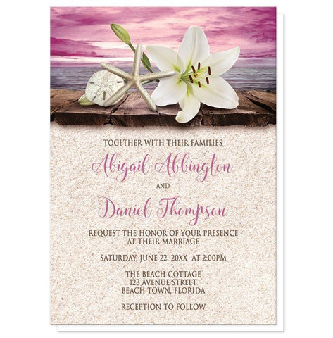Beach Wedding Invitations - Lily Seashells Sand Magenta Beach Wedding Invitations at Artistically Invited