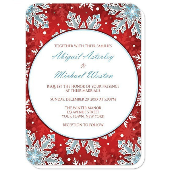 Modern Red White Blue Snowflake Wedding Invitations - Artistically Invited