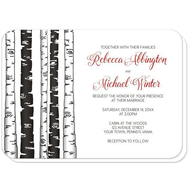 Monochrome Birch Tree with Red Wedding Invitations at  Artistically Invited