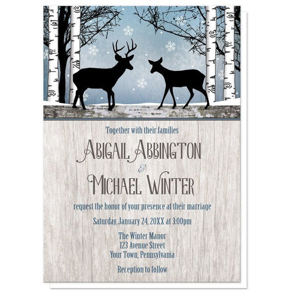 Rustic Blue Winter Deer Wedding Invitations - Artistically Invited