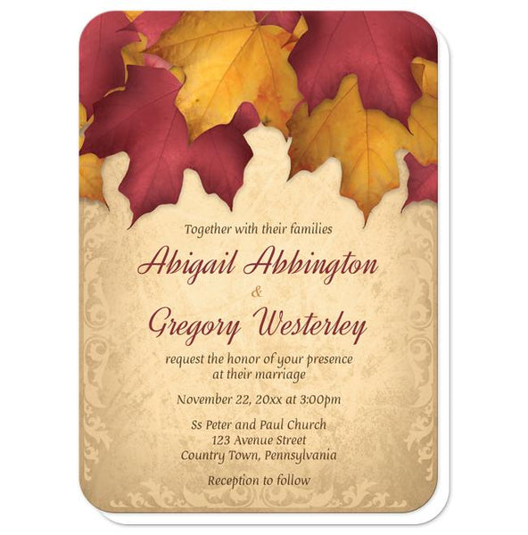 Rustic Burgundy Gold Autumn Wedding Invitations - rounded corners