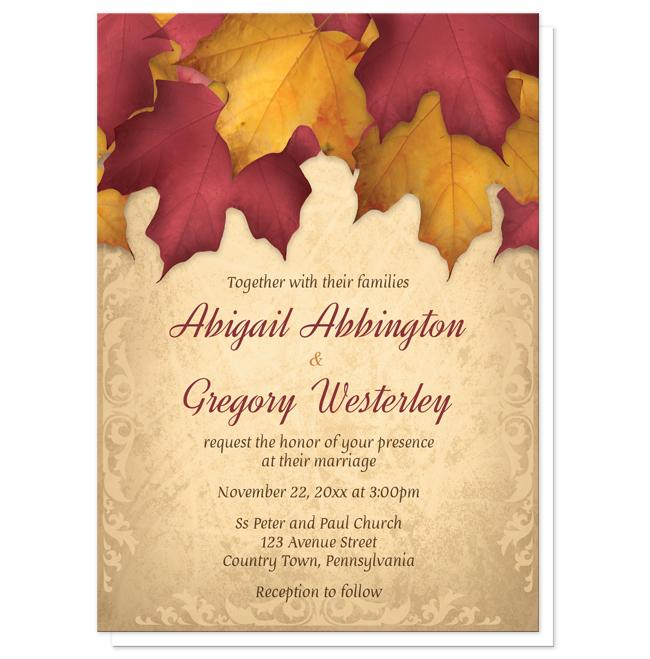 Rustic Burgundy Gold Autumn Wedding Invitations at Artistically Invited