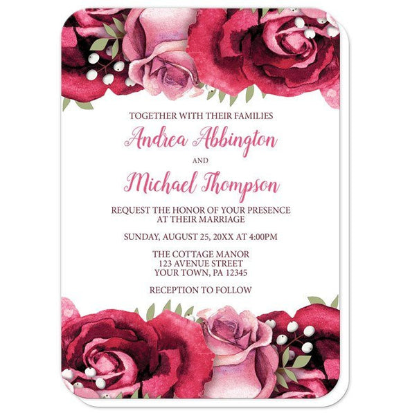 Wedding Invitations - Rustic Burgundy Pink Rose White - rounded corners