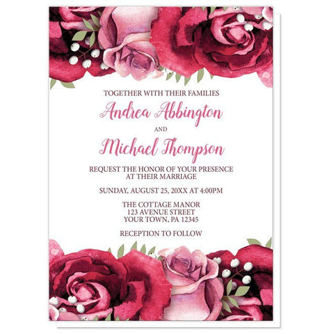 Wedding Invitations - Rustic Burgundy Pink Rose White