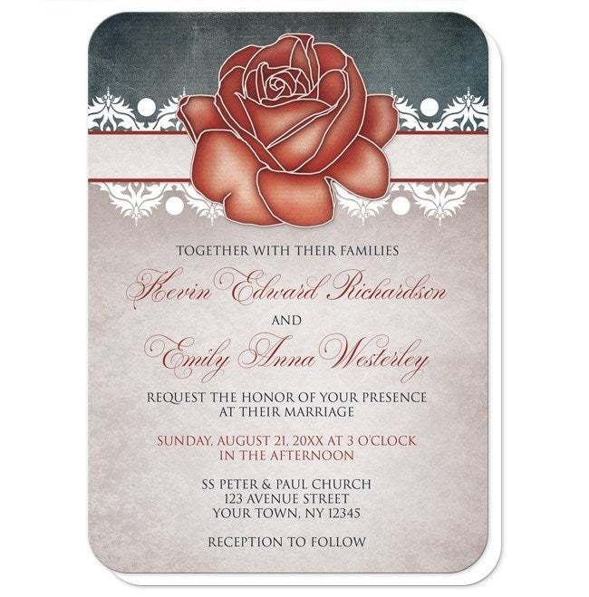 Rustic Country Rose Blue Wedding Invitations at  Artistically Invited