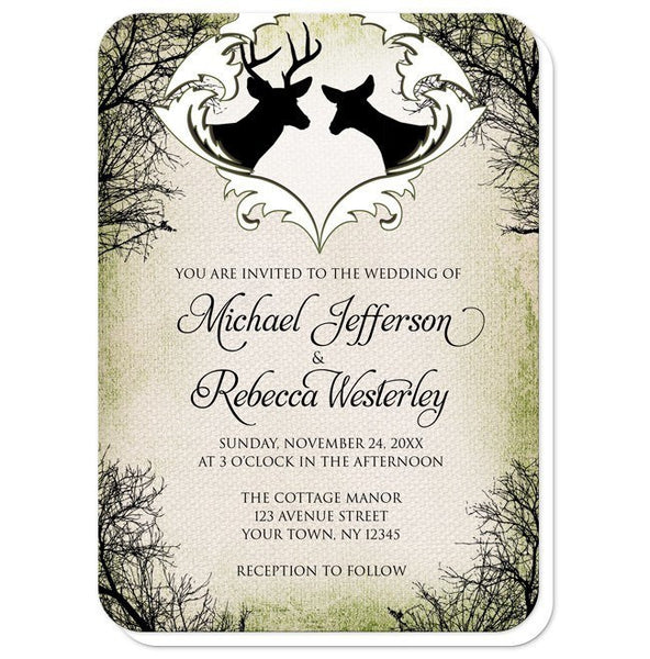 Rustic Deer Frame Canvas Wedding Invitations - Artistically Invited
