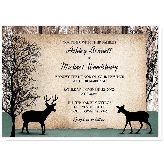 Deer Wedding Invitations - Rustic Woodsy Deer Wedding Invitations at Artistically Invited