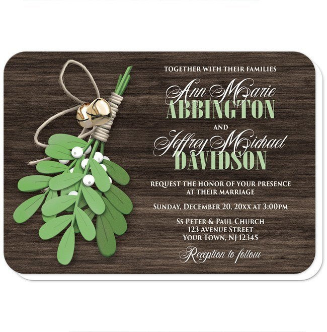 Rustic Mistletoe and Wood Wedding Invitations at  Artistically Invited