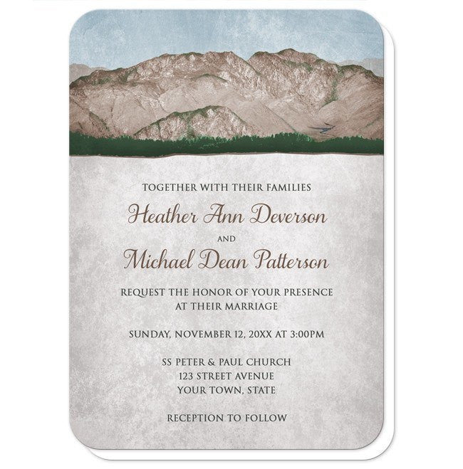 Rustic Mountain Scene Wedding Invitations at  Artistically Invited