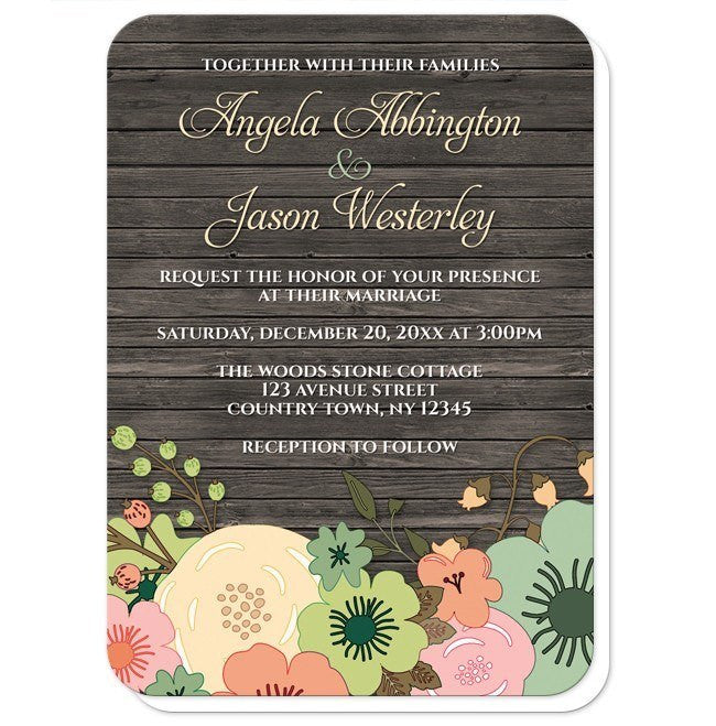 Rustic Orange Teal Floral Wood Wedding Invitations at  Artistically Invited