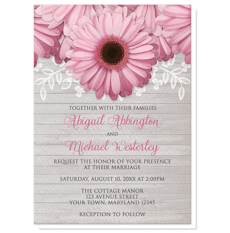 Rustic Pink Daisy Gray Wood Wedding Invitations at Artistically Invited