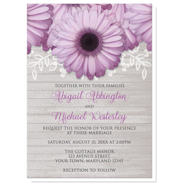 Rustic Purple Daisy Gray Wood Wedding Invitations at Artistically Invited