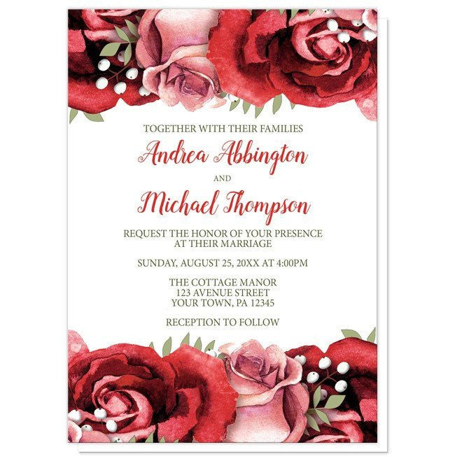 Red Pink Rose Green White Wedding Invitations at Artistically Invited – Red Rose Wedding Invitation
