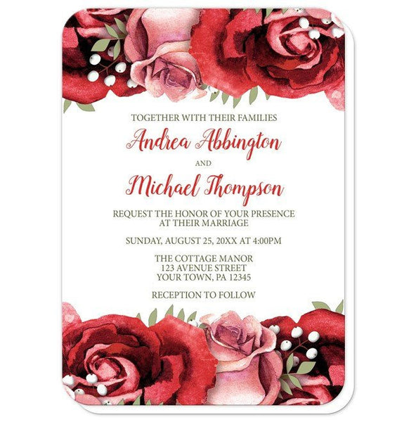 Wedding Invitations - Rustic Red Pink Rose Green White - rounded corners