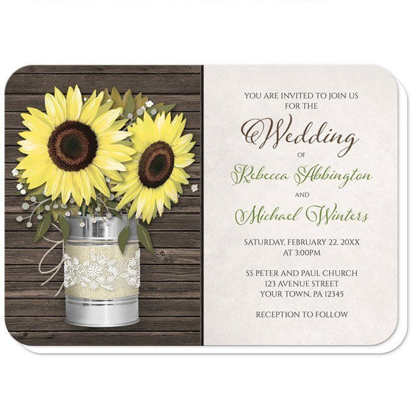 Wedding Invitations - Rustic Sunflower Burlap & Lace Tin Can - rounded corners
