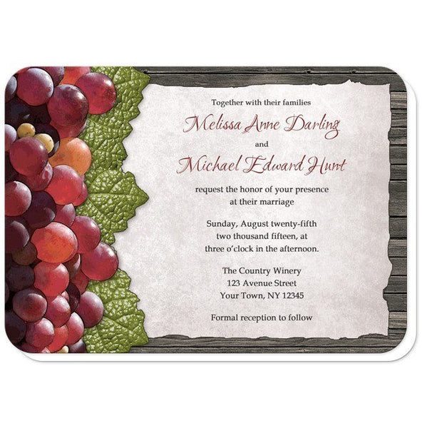 Rustic Winery Grapes and Wood Wedding Invitations - Artistically Invited