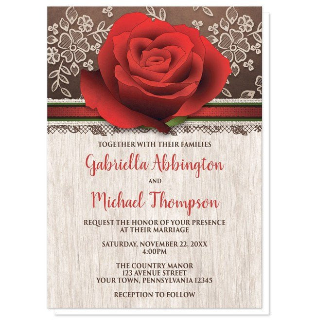 Wedding Invitations With Red Roses: Rustic Wood Lace Red Rose