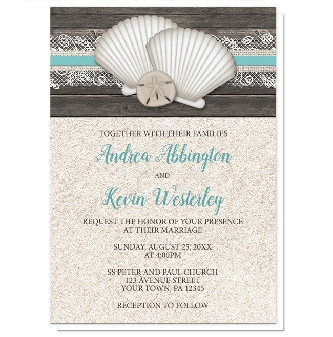Seashell Lace Wood and Sand Beach Wedding Invitations - Artistically Invited