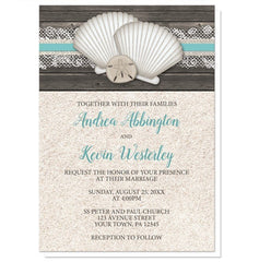 Wedding Invitations - Seashell Lace Wood and Sand Beach