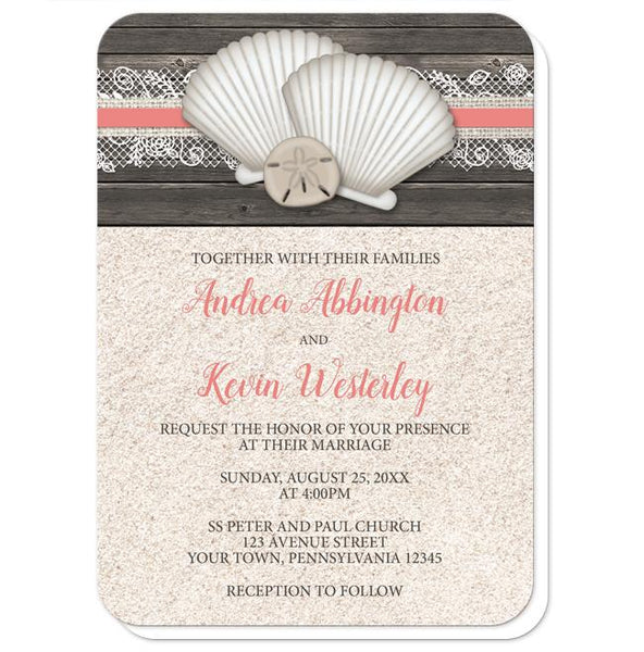 Seashell Lace Wood and Sand Coral Beach Wedding Invitations - rounded corners