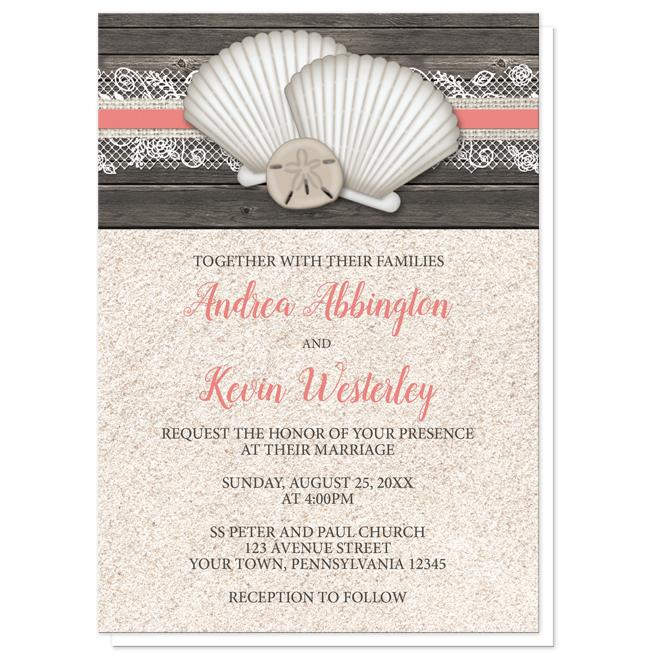 Seashell Lace Wood and Sand Coral Beach Wedding Invitations